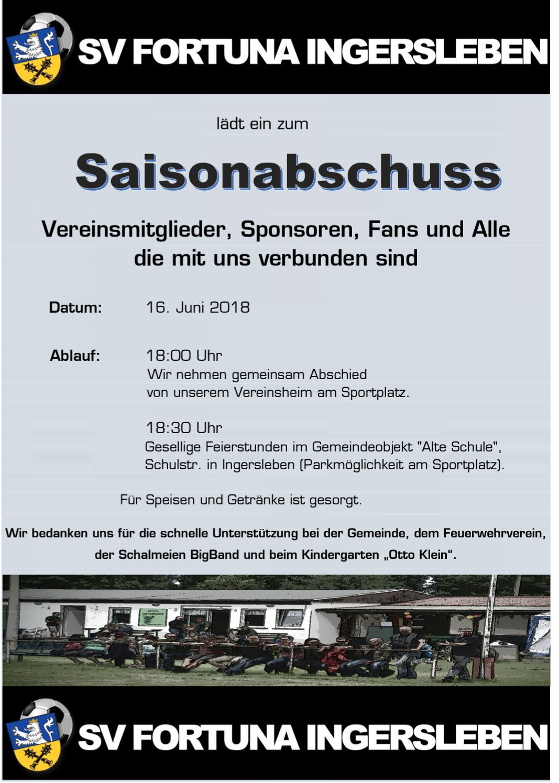 Saisonabschlussfeier SV Fortuna Ingersleben e.V